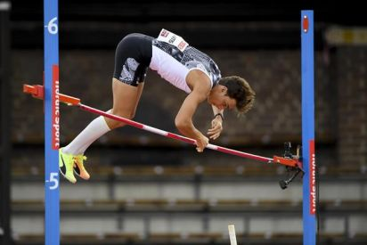 Pole vault winner Mondo Duplantis at the Diamond League meeting in Stockholm (Deca Text & Bild) © Copyright