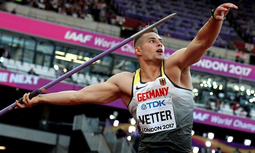 Johannes Vetter gerelyhajítás közben a 2017-es londoni atlétikai vb-n. (Fotó: athleticsweekly.com)