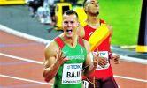 Baji Balázs öröme, miután bronzérmes lett a londoni világbajnokságon (Fotó: IB)